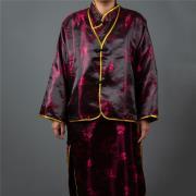 雙色緞旗袍(棗紅)