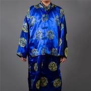 絲鍛長袍馬褂(藍色)