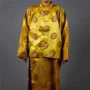 雙絲鍛長袍馬褂(黃色)