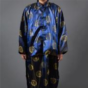 雙絲鍛長袍馬褂(藍色)