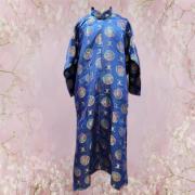 全彩緞面長袍馬褂(藍色)