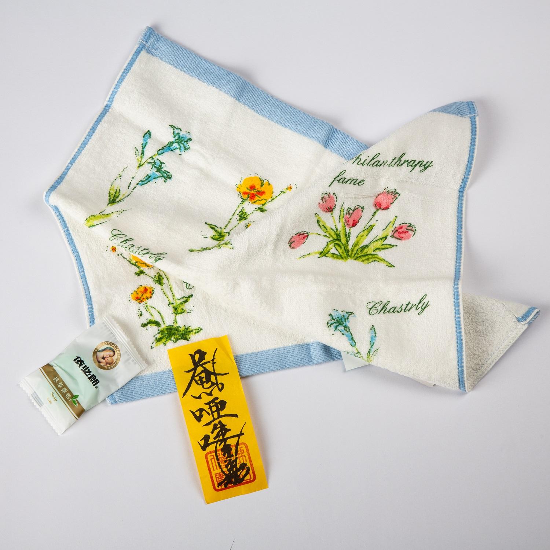 高級絨印花語小方巾捻香包