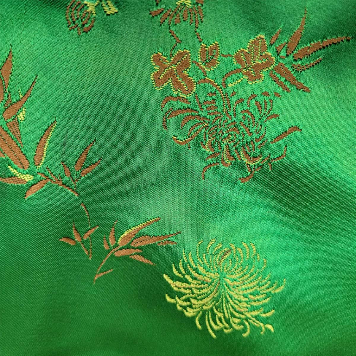 女全彩絲旗袍(綠)